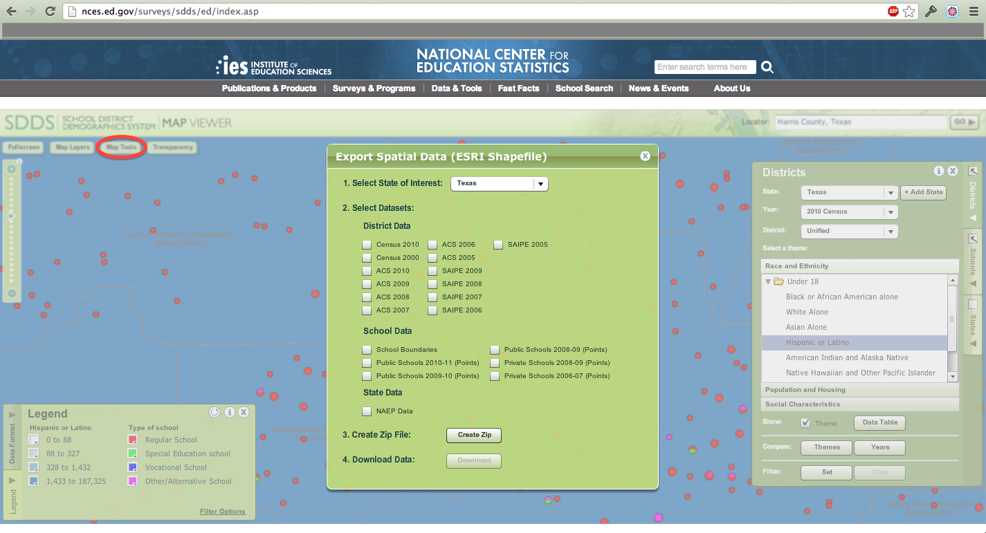 Download Spatial Data for School Districts