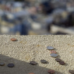 Close up Coins at Coit Tower Window